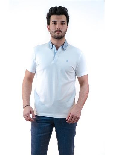 Boris Becker Kısa Kol Polo Yaka Micro Desen Yaka Detaylı Erkek Tshirt Beyaz